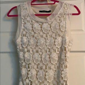 Arc & co cream cotton lace dress